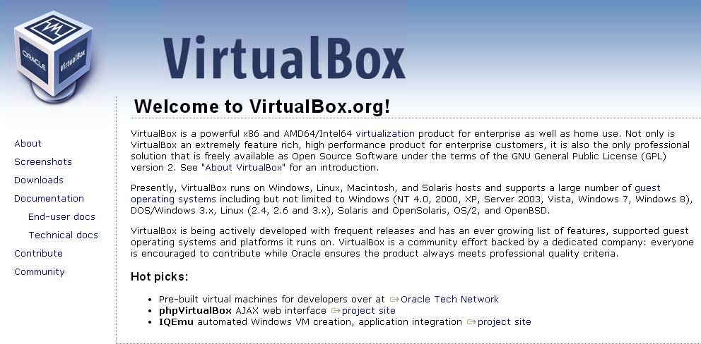 Oracle VM VirtualBoxホームページ